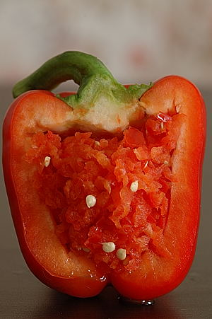 Red Bell Pepper Filled with Grated Red Bell Pepper