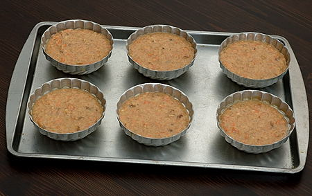 Carrot Coconut Cake Batter filled Mini Cake Pans