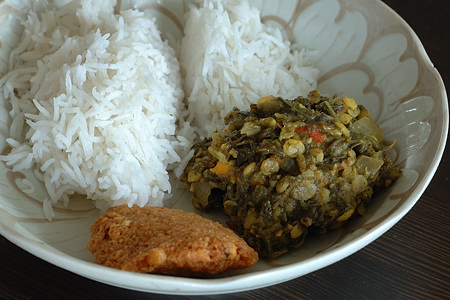 Gongura Adugula Pappu with Rice and Masala Vada