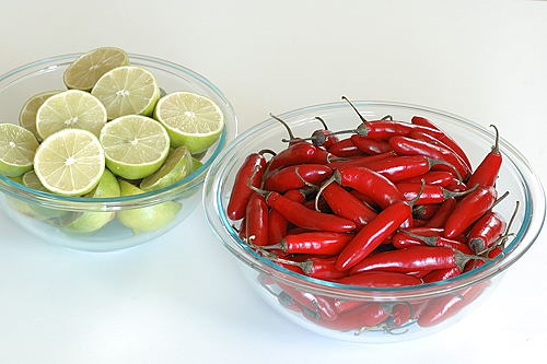 Ripe Serrano Chillies and Juicy Limes for Red Chilli Pickle