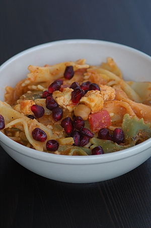 Paneer Pasta with Pomegranate Garnish